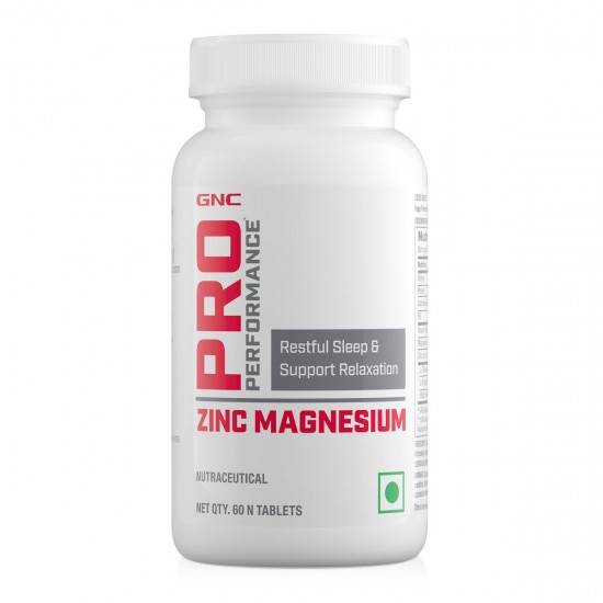 GNC Pro Performance Zinc Magnesium Amino (ZMA) Complex - For Restful Sleep & Relaxation - 60 Tablets